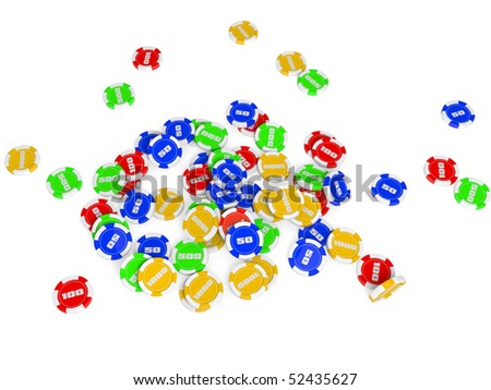 Lots of multicolored casino chips isolated on a white background