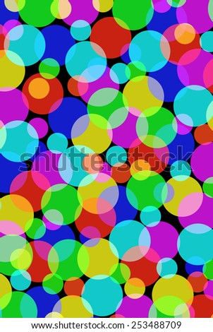Lots of multicolored overlapping circles background illustration. - stock photo
