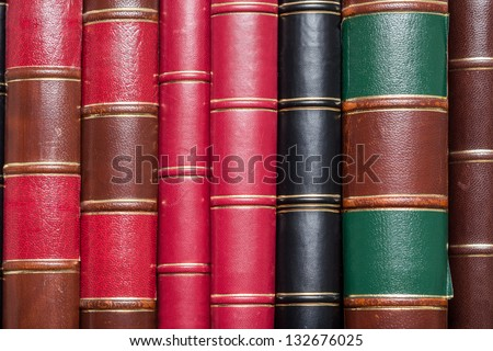 Lots Of Old Books On A Library Shelf - stock photo