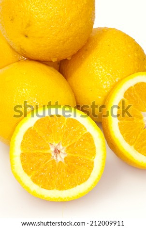 Lots of oranges isolated over white background