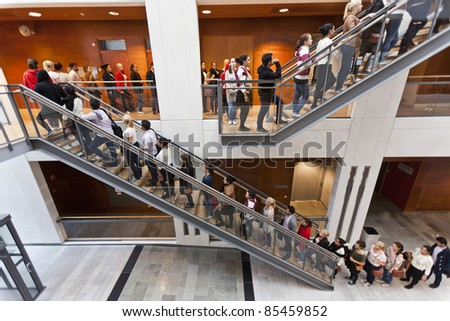 Lots of people in a row - stock photo