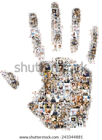Lots of photos of people form the palm of the hand. Isolated on white background. - stock photo
