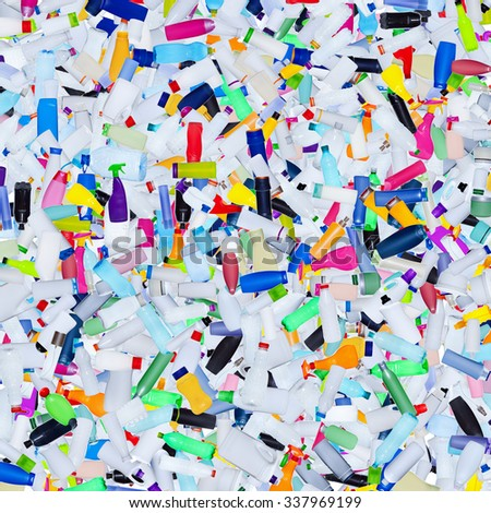 Lots of plastic bottles dumped in garbage - background of pollution concept - stock photo