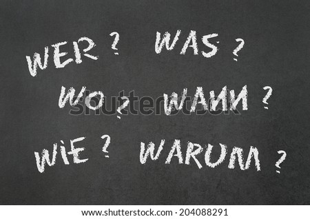 lots of questions like where what when why who and how in german language