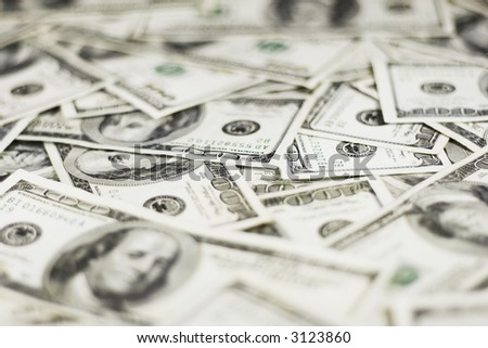 lots of real 100 greenbacks for background (shallow dof) - stock photo