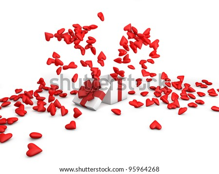 Lots of red hearts jumping from a gift box - stock photo