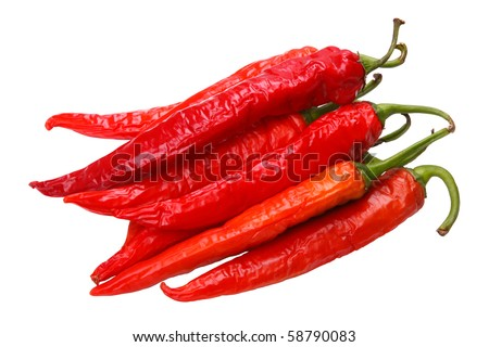 Lots of red sweet peppers hot peppers isolated on white background