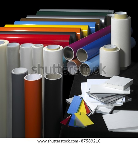 lots of sign making materials in black back - stock photo