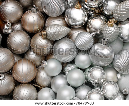 Lots of silver Christmas Decoration glass baubles background - stock photo