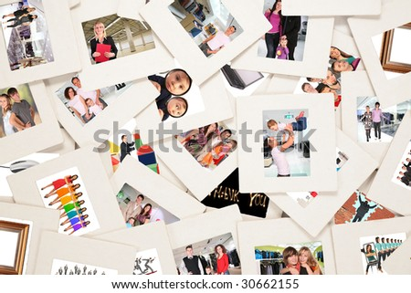 lots of slides with people collage - stock photo