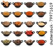 Lots of spices in small black dishes, with names beneath.  Large file. - stock photo