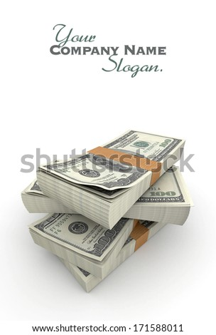 Lots of stacks of hundred dollar bills - stock photo