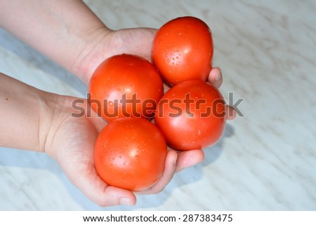 lots of tomatoes in female hands