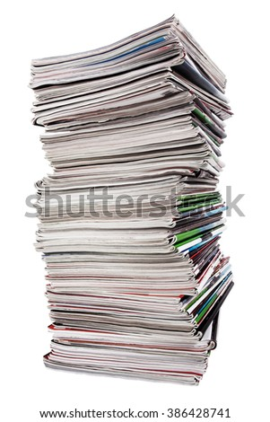 Lots of used magazines on white background