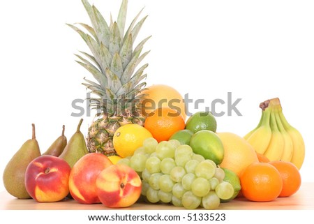 lots of various fresh fruits isolated on white