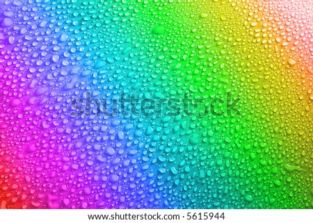 lots of water drops on a colourful background - stock photo