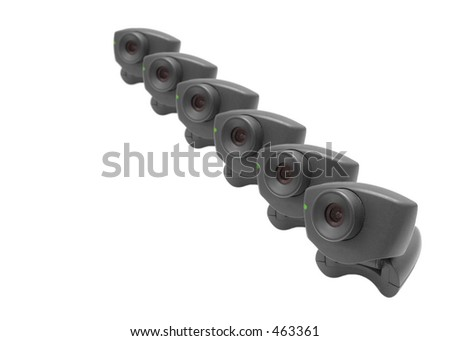 Lots of webcams in a row - stock photo