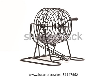 Lottery Ball Spinner on White - stock photo