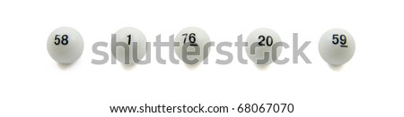 Lottery balls in a row isolated over white - stock photo