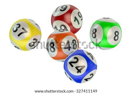 lottery balls isolated on white background - stock photo