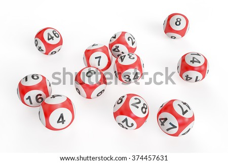 lottery balls isolated on white background