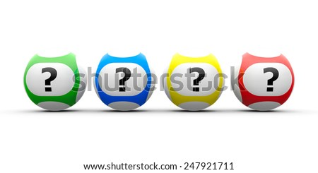 Lottery balls with questions on a white table, three-dimensional rendering - stock photo