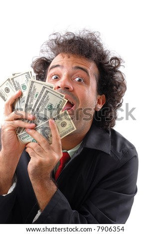 Lottery - Lucky man showing money and smile . - stock photo