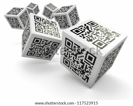 Lottery. Qr code cubes as dice. 3d - stock photo