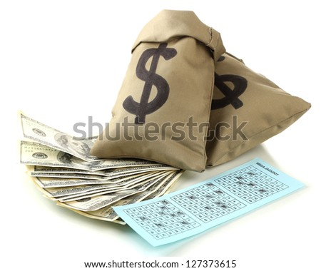 Lottery ticket and bags with money, isolated on white - stock photo