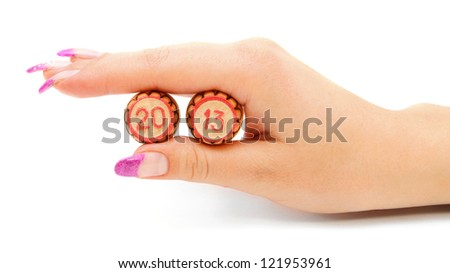 Lottos in a hand. New 2013. On a white background. - stock photo