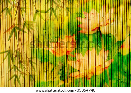 lotus and bamboo background - stock photo