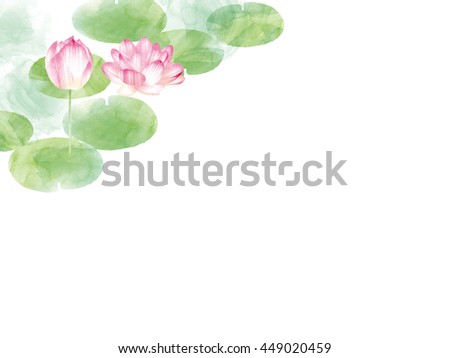 Lotus border.oriental nature illustration. Artistic lily flowers and leaves