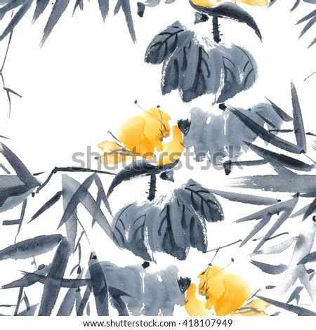 Lotus bud and bamboo. Watercolor and ink painting in style gohua, sumi-e, u-sin. Oriental traditional painting. Seamless pattern. - stock photo