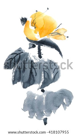 Lotus bud. Watercolor and ink painting in style gohua, sumi-e, u-sin. Oriental traditional painting. - stock photo