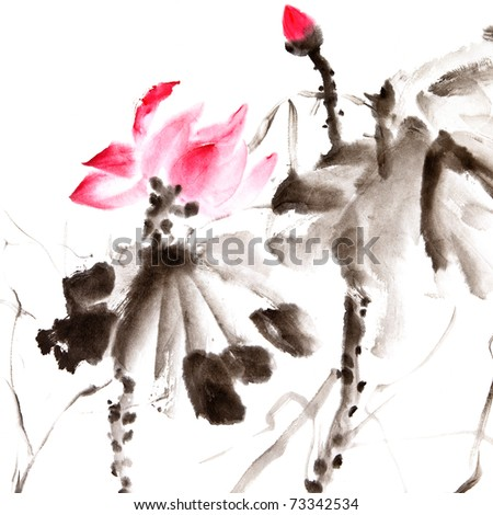Lotus, Chinese traditional ink painting artwork with color. - stock photo