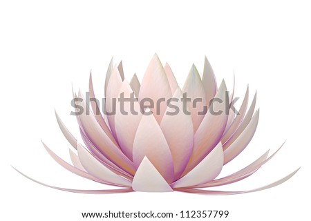 lotus flower on a white background - stock photo