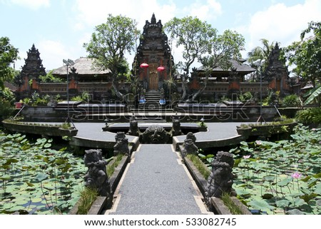 lotus flower ponds in the beautiful grounds of the Saraswati hindu temple ubud bali indonesia