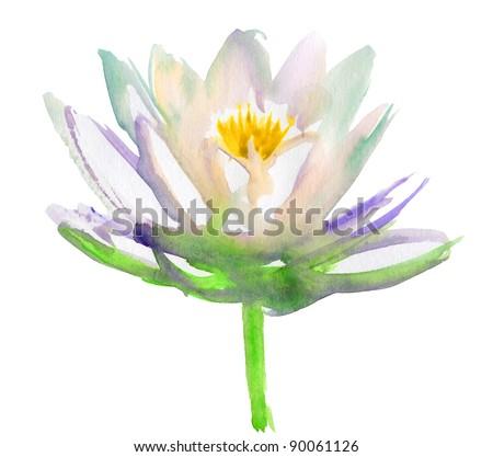 Lotus flower. watercolor - stock photo