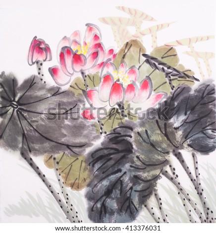 Lotus flower watercolor painting  - stock photo