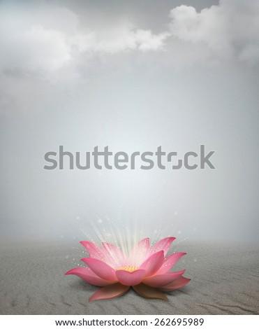 Lotus in desert - stock photo