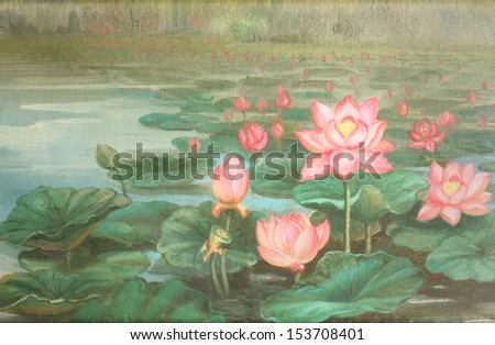 lotus : oil color painting - stock photo
