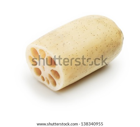 Lotus root (Nelumbo nucifera), or Renkon, isolated on white, with characteristic hole patterns showing on the cross section. - stock photo