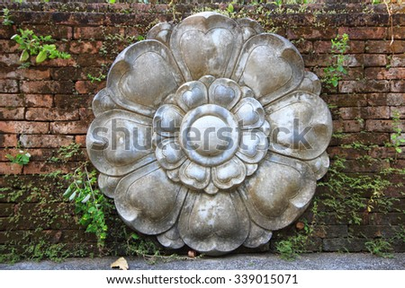 Lotus Stucco background on the wall - stock photo