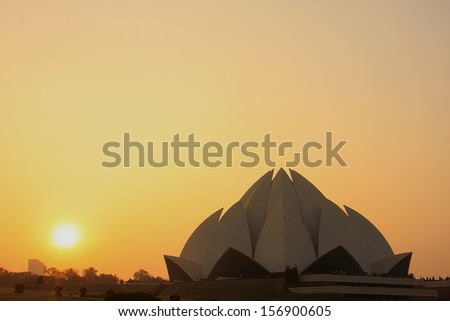 Lotus Temple at sunset, New Delhi, India - stock photo