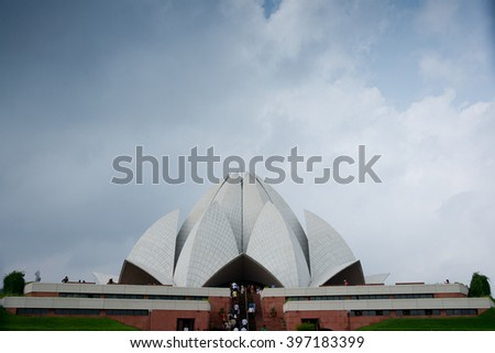 Lotus temple (Bahai House of Worship)in New Delhi, India