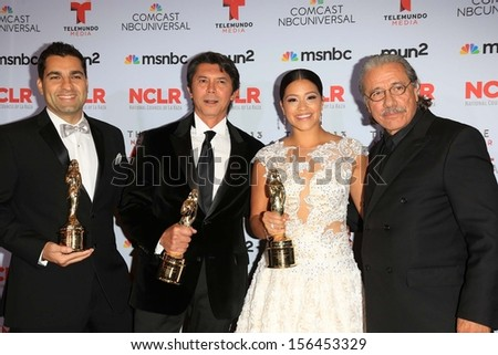 Lou Diamond Phillips, Gina Rodriguez and Edward James Olmos at the 2013 NCLR ALMA Awards Press Room, Pasadena Civic Auditorium, Pasadena, CA 09-27-13