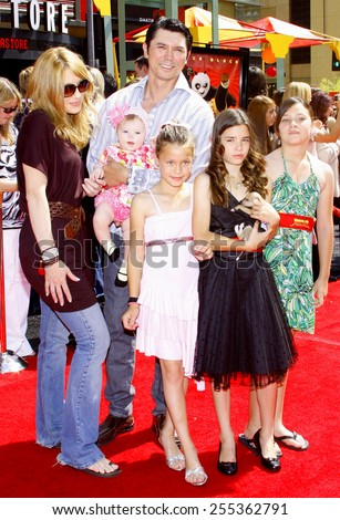 "Lou Diamond Phillips, wife Yvonne, kids Lili, Grace and Indigo attend the Los Angeles Premiere of ""Kung Fu Panda"" held at the Grauman's Chinese Theater in Hollywood, United States on June 1, 2008.  - stock photo"