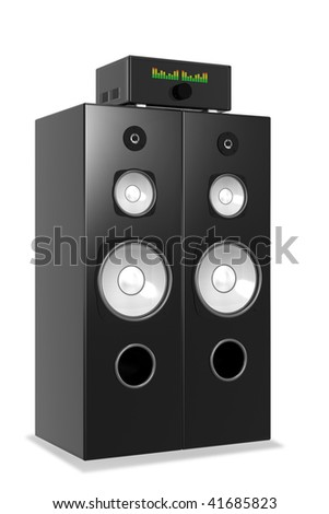Loud Music From Big Audio System - stock photo
