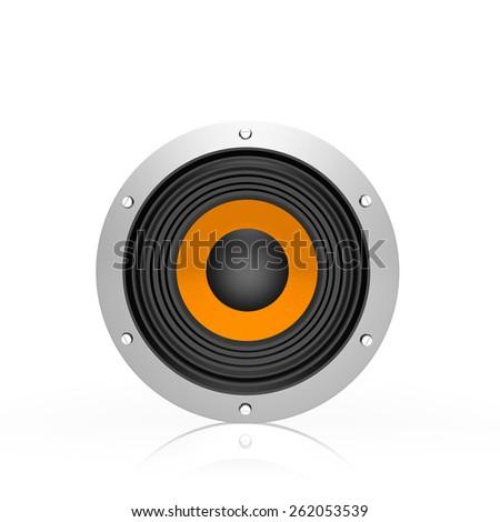 loud speaker, on white background - stock photo