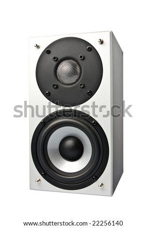 loud speakers. Isolated on white. - stock photo
